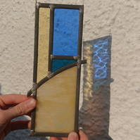 Stained glass leaded panel - abstract beach, sea, sun and sky
