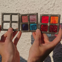 Stained glass mini leaded panel - four squares