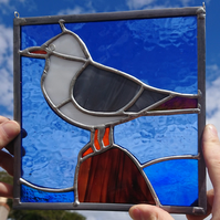 Stained glass gull, seagull on a rock panel. Copperfoil and lead.