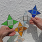 Stained glass four point star, hanging copperfoil suncatcher