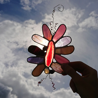 Stained glass pink agate suncatcher hanging decoration.