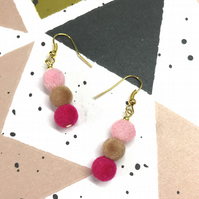 Handmade colourful fuzzy felt style bead earrings