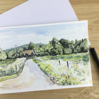 Country Lane in Spring, original pen and watercolour painting