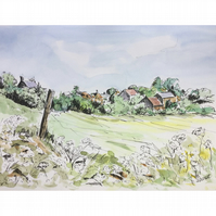 Across to Marshfield, Cotswolds, an original watercolour painting