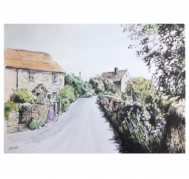 Lane in Marshfield, Cotswolds, an original pen and watercolour painting