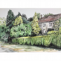 Original pen and watercolour - The Old House near the Duck Pond