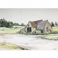 Original pen and watercolour -Cotswolds The Old Barn at Hawkesbury