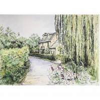 Original Watercolour – Cottage and Willow Tree on the Cotswold Way