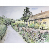 Original Watercolour – Cotswolds Cottage at Ozleworth Bottom