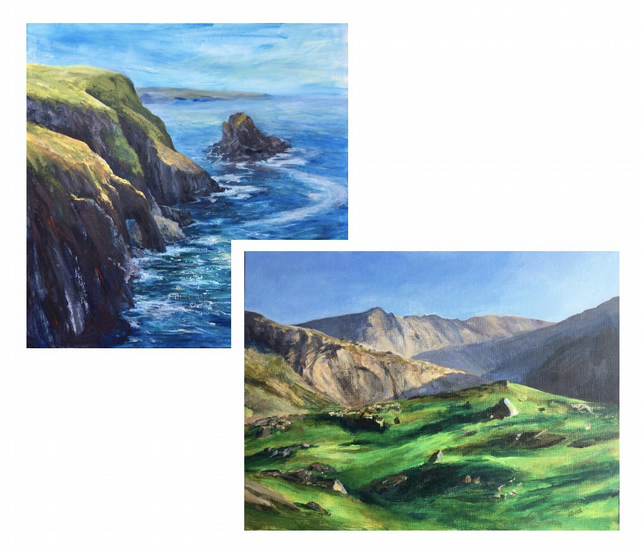 Two greetings cards, Summer cliffs and mountains of Wales
