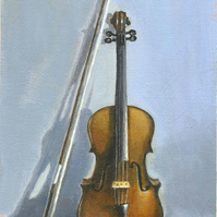 Original painting Still Life - The Old Violin by Russell Aisthorpe