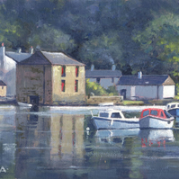 "Original painting ""On the River, Lerryn""by Russell Aisthorpe"