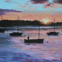 "Original painting ""Sunset at Topsham"" by Sue Netherton"