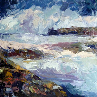 "Original Painting ""Rain Storm Coming, St Agnes, Scilly"" by Nicky May"