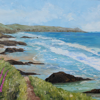 "Original oil painting ""Whitsand Bay"" by Sue Netherton"