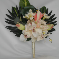 Tropical beach wedding bouquet peonies amarylis orchid large palm leaves