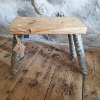 Handmade Vintage Pine & Mountain Ash Rustic Wooden Milking Foot Fireside Stool