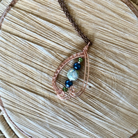 Mediterranean Sunset - Wire Wrapped Pendant