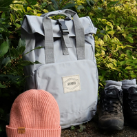Old School Pale Grey Roll-Top Backpack