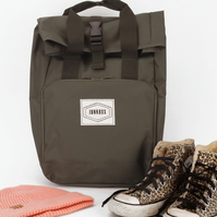 Old School Khaki Roll-Top Backpack