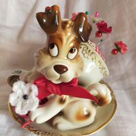Tea Cup Pin Cushion with Playful Puppy