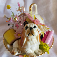 Tea Cup Pin Cushion with Cute Bassett Hound