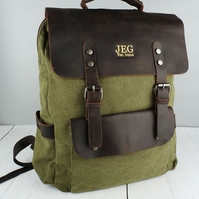 Waxed leather and Green Khaki Canvas Backpack. Embroidered Personalised Backpack
