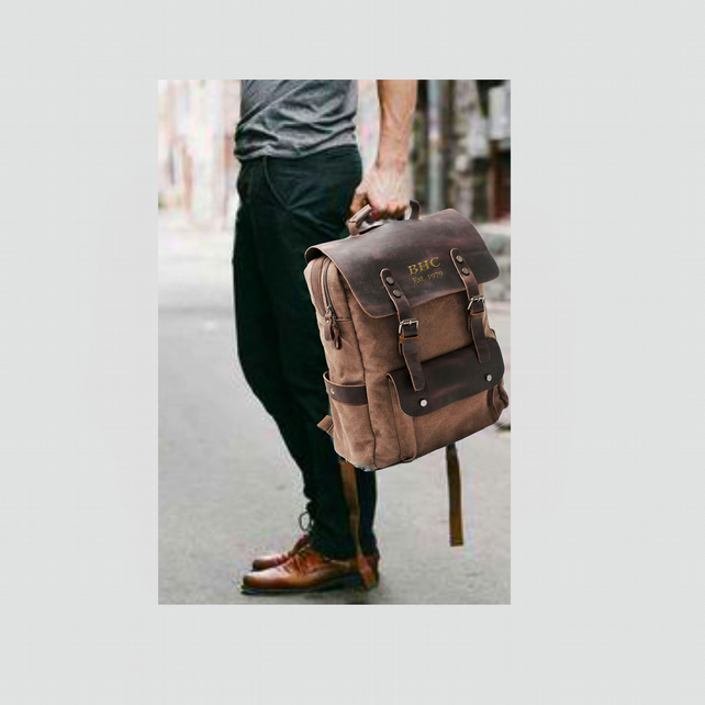 Genuine Leather and Canvas Backpack. Embroidered Personalised Toffee Backpack