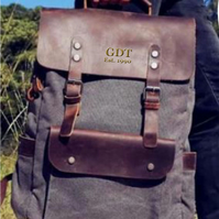 Genuine Leather and Deep Grey Canvas Backpack. Personalised Backpack
