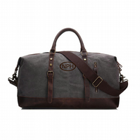 Deep Grey Duffel Bag. Embroidered Personalised Leather and Canvas Weekend.
