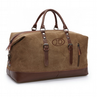 Personalised Weekend Bag. Leather Canvas Travel Bag