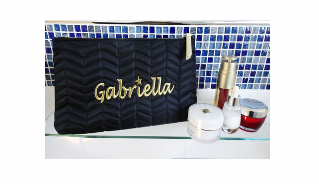 Embroidered Personalised Make Up Bag. Toiletry Bag. Wash Bag