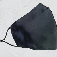 Black Silk Face Mask. Three Layers of Mulberry Silk Face Mask. Reusable Washable