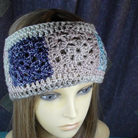 CROCHET GRANNY SQUARE HEAD BAND