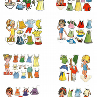 Fabric Panels, Vintage Paper Dolls Cute French Dolls Set of 8 on Fabric