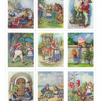 Fabric Panels x 9 panels Alice Through the Looking Glass, Tenniel Illustrations