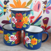 Hand painted folk art enamel mug