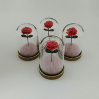 The Little Prince's rose in mini glass dome bell jar display wool felting gifts