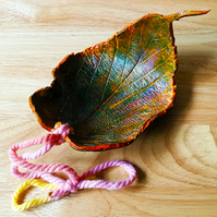 Autumn clay leaf