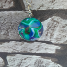 Blue green marble style keyring