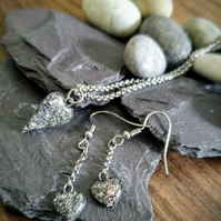 Cremation Jewellery Set, Memorial Pendant & Earrings, Pet Ashes Jewellery,