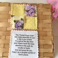 Quilted Pocket Prayer -  Yellow and Mauve