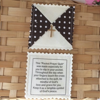 Quilted Pocket Prayer - Brown Spot and Cream