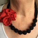 Black Textile Necklace with Accessories