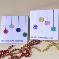 Handcrafted Christmas Card with Button Baubles