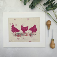 Farmhouse Chicken Linocut Print, Quirky Pink Chicken Print