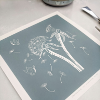 Dandelions and Butterflies Limited Edition Linocut Print, Botanical Art Print
