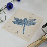 Dragonfly Linocut Print, Insect Art, Symbol of Strength.