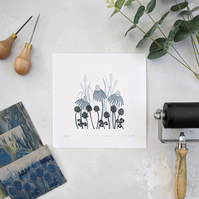 Meadow Flower Linocut Print, Limited Edition Print, Monochrome Flower Print