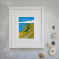 Scarborough Coastline Print, North Yorkshire Coast Linocut Print